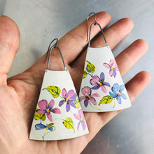 Load image into Gallery viewer, Happy Pink Violets on Snowy White Upcycled Vintage Tin Earrings