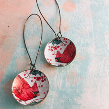 Load image into Gallery viewer, Winter Cardinals Large Basin Earrings