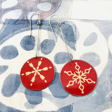 Load image into Gallery viewer, Snowflakes on Red Large Circles Tin Earrings