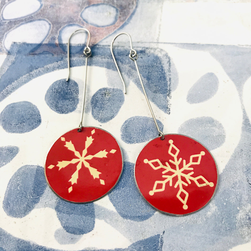 Snowflakes on Red Large Circles Tin Earrings