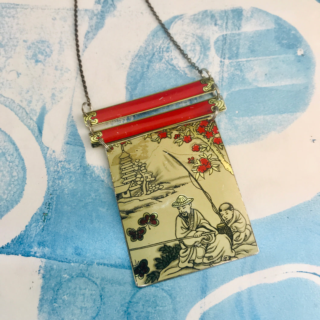 Japanese Fishermen Upcycled Tin Necklace Tin Anniversary Gift