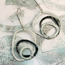 Load image into Gallery viewer, Mixed Whites and Black Smaller Scribbles Upcycled Tin Earrings