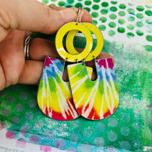 Load image into Gallery viewer, Sunny Tie Dye Chunky Horseshoes Zero Waste Tin Earrings