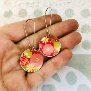 Flowery Pinks Medium Basin Earrings