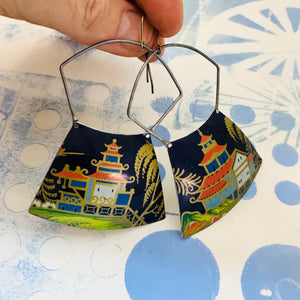 Pagodas on Midnight Blue  Large Zero Waste Tin Earrings