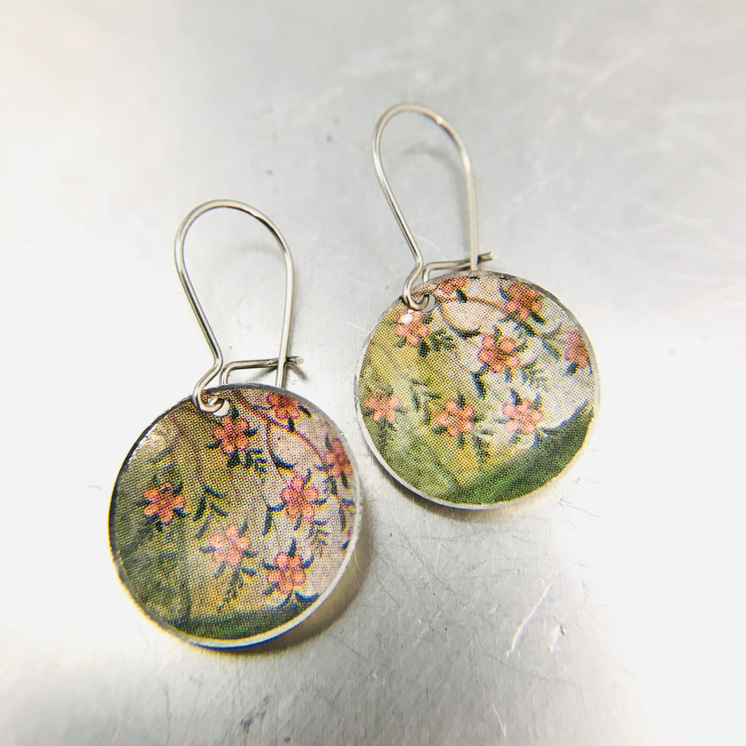 Tiny Pink Blossoms Tiny Dot Tin Earrings