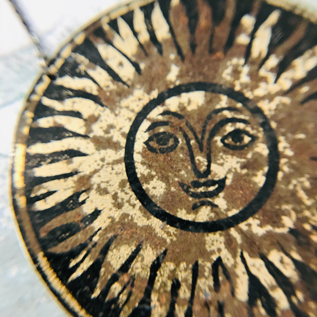 Happy Sun Upcycled Tin Necklace