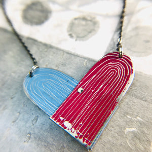 Cornflower & Magenta Etched Tin Heart Recycled Necklace