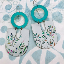 Load image into Gallery viewer, Colorful Leaves on White Chunky Horseshoes Zero Waste Tin Earrings
