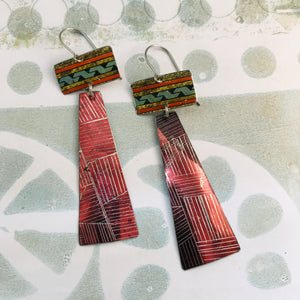 Shimmery Etched Burgundy Tin Zero Waste Earrings Ethical Jewelry