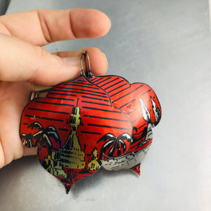 Oasis on Red Recycled Big Tin Earrings
