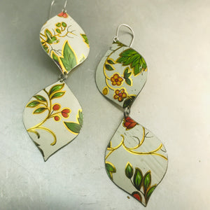 Tiny Blossoms & Green Leaves Zero Waste Tin Earrings