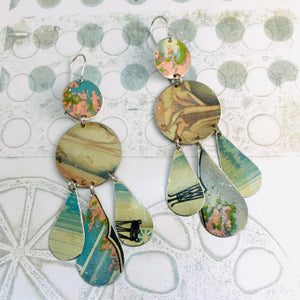 Bathhouse Blues Zero Waste Tin Chandelier Earrings