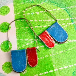 Sky & Scarlet Arch Dangle Tin Earrings