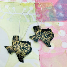 Load image into Gallery viewer, Golden Roses on Midnight Texas Upcycled Tin Earrings