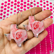 Load image into Gallery viewer, Big Pink Texas Roses Upcycled Tin Earrings