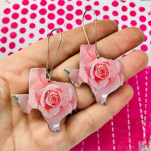 Big Pink Texas Roses Upcycled Tin Earrings