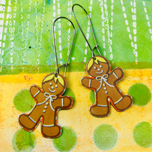 Gingerbread Men Upcycled Tin Earrings
