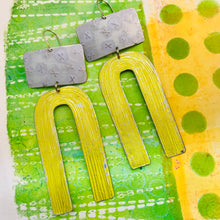 Load image into Gallery viewer, White X'd & Yellow Etched Arch Zero Waste Tin Earrings