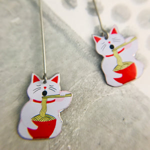 Little Lucky Cats and Noodles Upcycled Tin Earrings