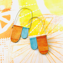 Load image into Gallery viewer, Aqua & Dreamsicle Arch Dangle Tin Earrings