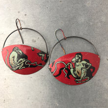 Load image into Gallery viewer, Jumproping Monkeys Upcycled Tin Earrings by Christine Terrell for adaptive reuse jewelry