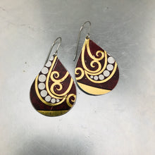 Load image into Gallery viewer, Dotted Spirals on Maroon Upcycled Teardrop Tin Earrings