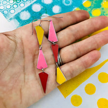 Load image into Gallery viewer, Goldenrod, Bubblegum & Coral Small Narrow Kites Recycled Tin Earrings