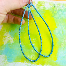 Load image into Gallery viewer, Spiraled Tin Big Aqua Teardrop Earrings