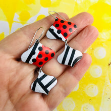 Load image into Gallery viewer, Black and White and Red Mixed Pattern Rex Ray Zero Waste Tin Earrings