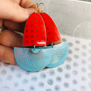 Red Polka Dots & Aqua Spirograph Upcycled Tin Boat Earrings