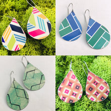 Load image into Gallery viewer, Geometric Pattern Upcycled Teardrop Tin Earrings by adaptive reuse jewelry