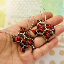 Load image into Gallery viewer, Wavy Voluspa Pattern Upcycled Tin Texas Earrings