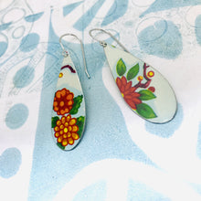 Load image into Gallery viewer, Vintage Bright Blossoms Upcycled Narrow Teardrop Tin Earrings