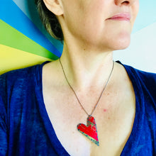 Load image into Gallery viewer, Tabbed Tin Heart Recycled Red & Gold Necklace