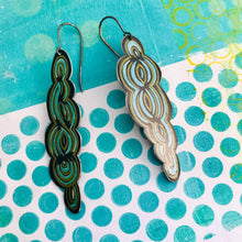 Load image into Gallery viewer, Cool Swirls Long Recycled Tin Earrings