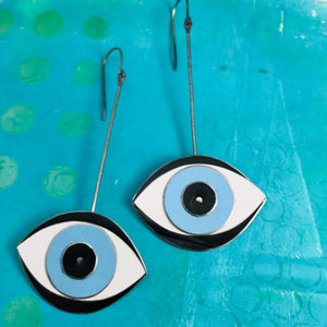 Protective Blue Eye Upcycled Tin Earrings