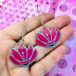 Pink Lotus Flowers Upcycled Tin Earrings