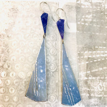 Load image into Gallery viewer, Long Blues Narrow Kites Recycled Tin Earrings