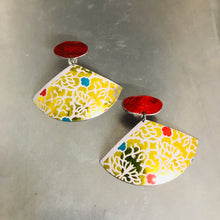 Load image into Gallery viewer, Shimmery Red Ovals and Golden Fans Upcycled Tin Fan Post Earrings by Christine Terrell for adaptive reuse jewelry