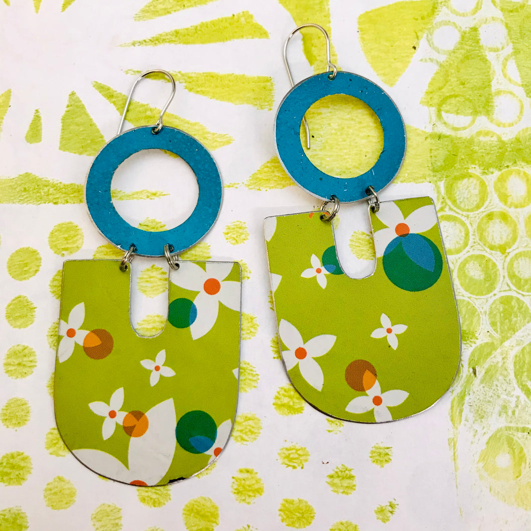 White Flowers on Spring Green Chunky Horseshoes Zero Waste Tin Earrings