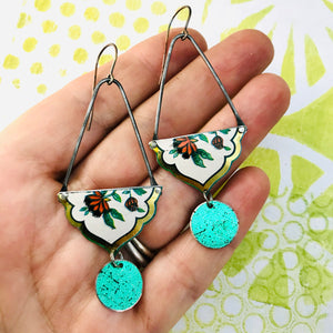 Flowers with Golden Border Recycled Tin Earrings
