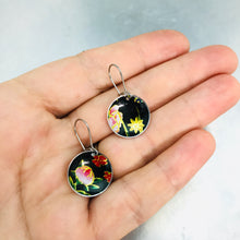 Load image into Gallery viewer, Vintage Flowers on Midnight Tiny Dot Tin Earrings
