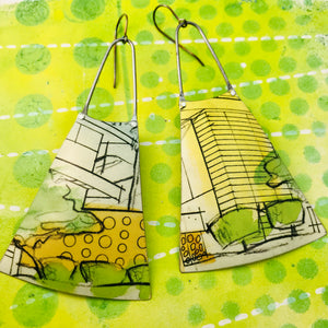 Modernist Architectural Renderings Upcycled Tin Long Fans Earrings