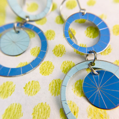 Pale Blue & Cornflower Silver Starburst Multi Circles Upcycled Tin Earrings