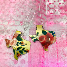 Load image into Gallery viewer, Roses on Gold Texas Upcycled Tin Earrings