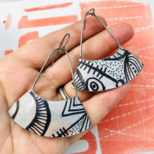 Load image into Gallery viewer, Ink Doodle Wide Arc Zero Waste Earrings