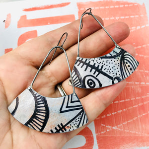 Ink Doodle Wide Arc Zero Waste Earrings