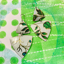 Load image into Gallery viewer, Green Leaves Tourmaline Zero Waste Tin Earrings Ethical Jewelry