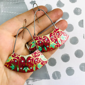 Green Leaves in Red Wide Arc Zero Waste Earrings